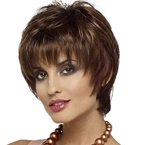 Fleurapance - parrucca da donna sopranaturale marrone corto dritto parrucca testa bob - stile elegante ondulato sintetico resistente al calore come capelli veri con pony attraente alla moda parrucca