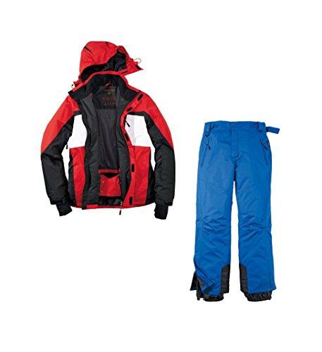 Skianzug 2tlg. Funktioneller Skianzug Für Herren M-7 Gr. 50 Farbe.Rot-Schwarz-Weiß-Blau M-7 Schneeanzug Thinsulate Skijacke