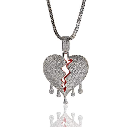 Hip Hop AAA CZ Zirkonia Bling Iced Out Gebrochene Wassertropfen Herz Anhänger Halskette für Männer Rapper Schmuck Gold ()