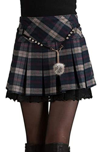 Damen Tartan Röcke Kilt Mini - Karierten Gefalteten A - Line Umfasst Winter Hohe Taille grau S - Tartan-mini-kilt