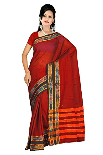 Dark Maroon resham woven plain cotton sarees