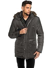 VB Homme Manteau d'hiver avec col montant, pelage détacheable et cordon de serrage