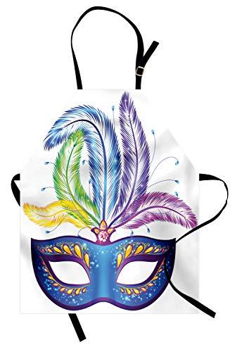 ABAKUHAUS Mardi Gras Kochschürze, Blaue verzierte venetianische Festival-Maske mit Feder-Maskerade-Parade-Vorbereitungen, Farbfest Höhenverstellbar Waschbar Klarer Digitaldruck, Mehrfarbig