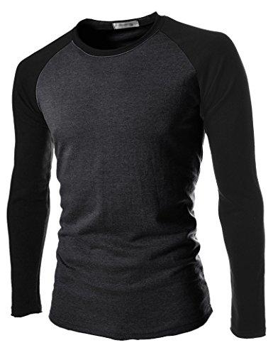 BOMOVO Herren Rundhals -T-Shirt Langarm Spleiß Shirt Slim Fit Dark Grau
