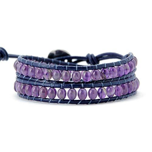 la Kristall 2 Stränge Leder Wickelarmband heißer handgefertigte Perlen Wickelarmband Naturstein Armband Großhandel ()
