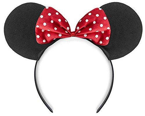 mit rot-weißer Schleife (Minnie Maus Party-ohren)