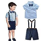 Echinodon [Bekleidungsset Junge Festlich Kurzarmhemd mit Fliege + Kurze Hose mit Träger Set Babyanzug Taufe Anzug 100