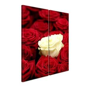 """Bilderdepot24 Immagine su tela """"bianco rosa"""" - 60x70 cm 2 pezzi - incorniciato direttamente dal produttore, intelaiata e pronta da appendere"""