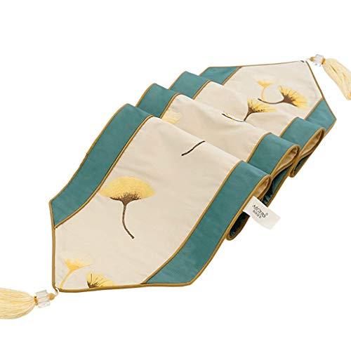 XU FENG Classic Embroidered Short Satin Floral Waschbar Stoff Tischläufer Tischdekoration Tapisserie - Gelb Ginkgo Weiß (größe : 30 * 180cm) Classic Satin Shorts