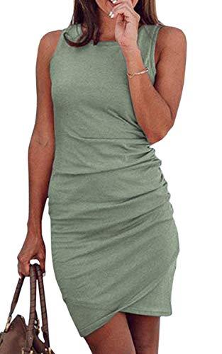 ECOWISH Damen Enges Kleid Sommerkleid Rundhals Kurzarm Kleid Bodycon Unregelmäßig Minikleid 108Grün M