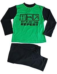 L'usine de Pyjama garçons Eat Sleep Mine Repeat Pyjama Long de 7 à 12 ans-Vert