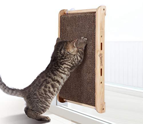 Pecute Kratzbrett für Katzen mit Katzenminze, kratzmatte Kratzpappe,Natürliche Bambushalterung,Anti-Rutsch mit 4 Transparenter Saugnapf(43 * 24 * 5 cm)