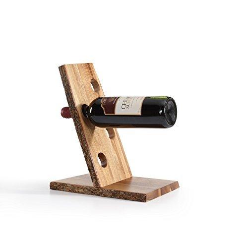 Danya B Four Bottle Floating Wine Holder with Bark -