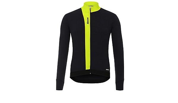 Santini Origine Winter Long Sleeve Mens Cycling Jersey Yellow