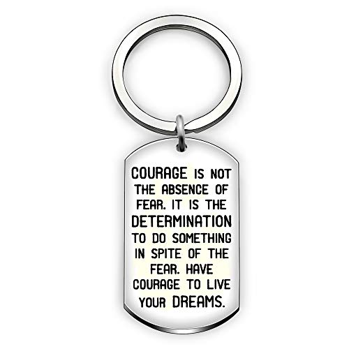 b81592fa2e5f Inspirational Key Ring Daughter Son Dog Tag Pendant Graduation Gifts -  Courage is Not The Absence