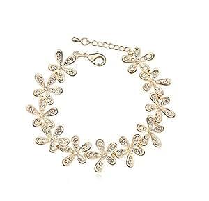 Saphira bijoux fantaisie. Bracelet doré . Cristal Autrichien blanc . Swarovski elements . Flocons de neige.