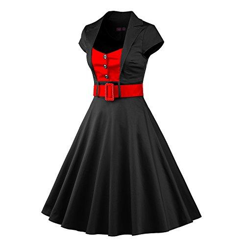 LUOUSE Damen Elegant Kurzarm V-Ausschnitt 40er 50er Retro Cocktailkleid Rockabilly Party Kleid Schwarz