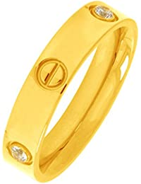 The Jewelbox 18K Gold Plated 316L Surgical Stainless Steel Screw Wedding Engagement Band Ring For Men