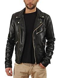 Leather4u Chaqueta de cuero para hombre, piel de vaca, Negro KL710