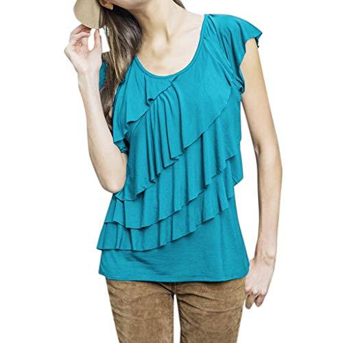 Junjie Frauen Mutterschaft Nursing Wrap Kurzarm Solid Color Multi Layer Pleated Bluse Tops Himmelblau, Armeegrün, Rosa - Kurzarm-wrap