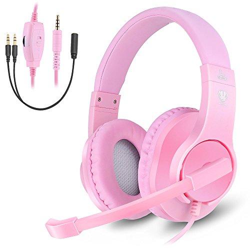 Makibes Wired Over Ear Kopfhörer für Frauen & Mädchen, Gaming Headset mit Noise Cancelling Mikrofon für PC, PS4, Xbox One, Nintendo Schalter Pink