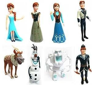Disney Frozen 8 Piece Figure Set Princess Elsa Anna Hans Kristoff Sven Olaf Cake Toppers