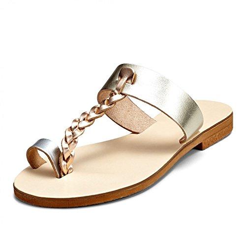 SCHMICK Sandali 'Chloris' Donna Sandali alla schiava Scarpe estive in vera pelle look metallico, Schuhgr÷?e:41 EU;Farbe:gold rose-gold silver