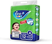Fine Baby Double Lock, Size 4, Large, 7-14 kg, 12 Diapers
