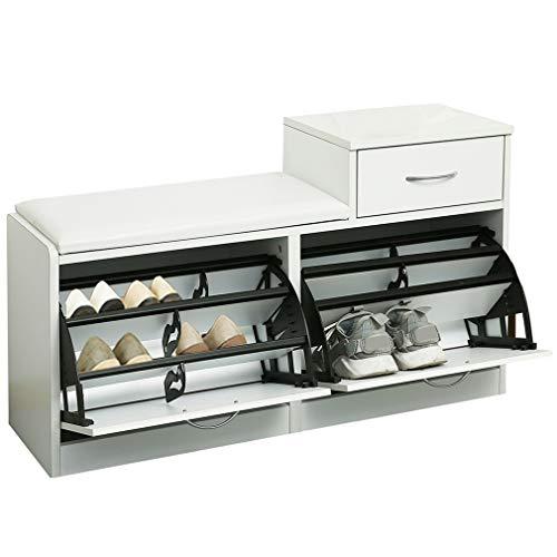 ARCALT Banco de Almacenamiento de Zapatos con cajón Plegable gabinete para Zapatos con Asiento Acolchado...