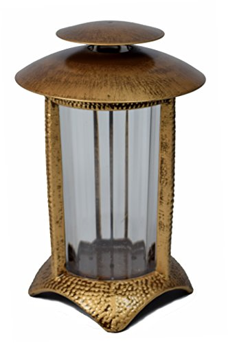 Paul Jansen Grablicht rund mit Kunststoffeinsatz und halbrundem Standfuß Höhe 21 cm, braun / gold