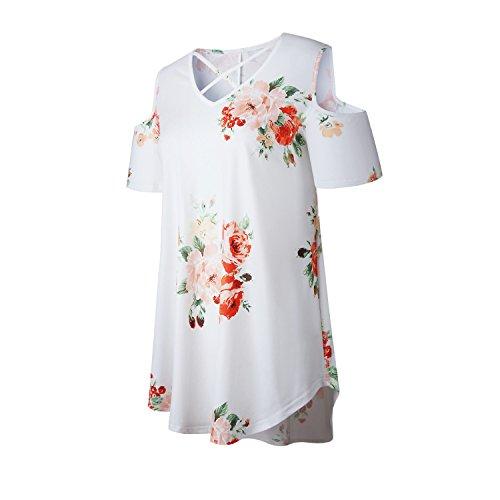 szivyshi Maniche Corte Spalle Scoperte Strappy Scollo Profondo a V a trapezioe a Fiori cotone T-Shirt Maglietta Tee Top Bianco