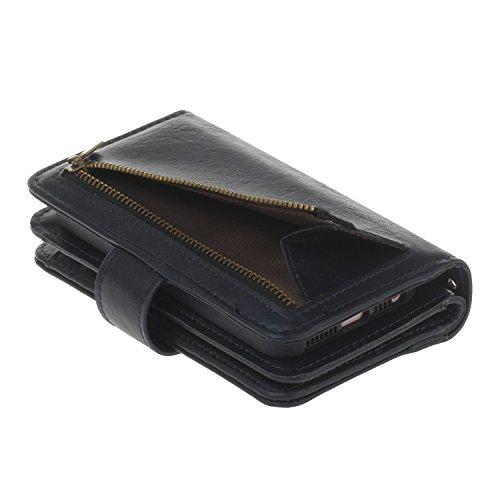 Coque pour iPhone 5/5S/SE,Etsue Distinctif Étui Housse en Cuir Case pour iPhone 5/5S/SE,Cuir PU en Surface et Souple Soft Silicone TPU Intérieur en Case Coquille Shell Étui pour iPhone 5/5S/SE + 1 x C Portefeuille-Bleu foncé