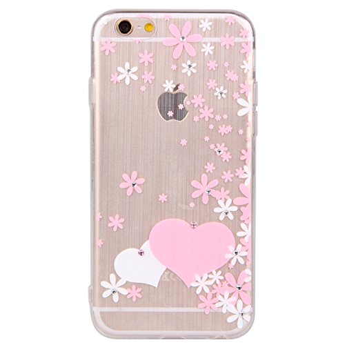 Durchsichtig Huelle für iPhone 5S, Felfy luxus Ultra Slim Bling Shiny Sparkle Diamant Dünnen Apple iPhone 5S 5 Cool Love Heart Muster Weiche Flexible Gel TPU Handy Tasche Back Case Cover Protective Zu Rosa Muster #5