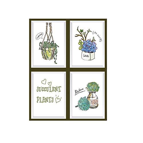 Deanyi Wand-Sticker Handgemalte Pflanze Photo Frame Hauptdekor-Wand-Abziehbild-Aufkleber DIY Wandkunst-Aufkleber Self Adhesive entfernbare PVC-Wand-Papier-Raum-Dekor