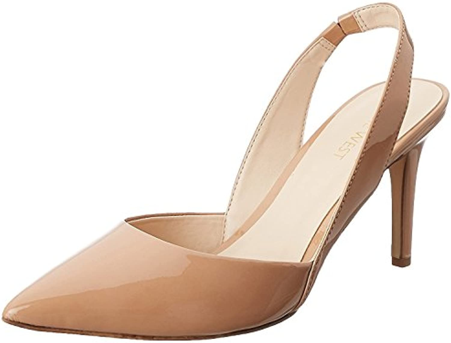 Nine West Women'S Rollover Synthetic Dress Pump, Natural Synthetic, 38.5 B(M) EU/6.5 B(M) UK