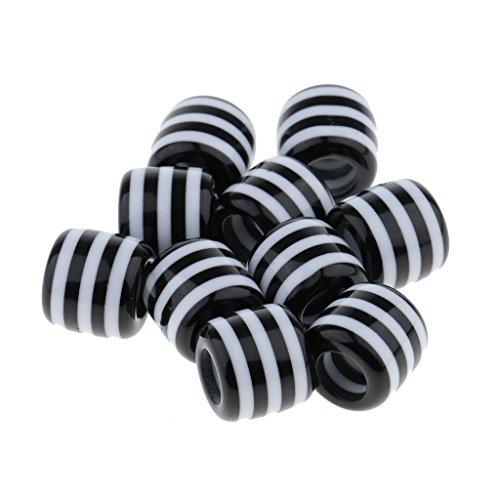 cks Perlen Kunststoff Zopf Perlen Flechten Haar Deko Haarperlen Haarschmuck für Haarverlängerung - Schwarz-Weiß 01 ()