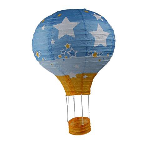 MagiDeal Landschaft Heißluftballon Luftballons Papierlaterne Parteidekor 12 Zoll 30cm - Hellblau Stern