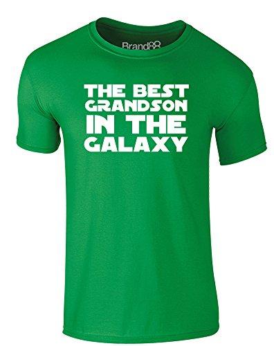 Brand88 - The Best Grandson in the Galaxy, Erwachsene Gedrucktes T-Shirt Grün/Weiß