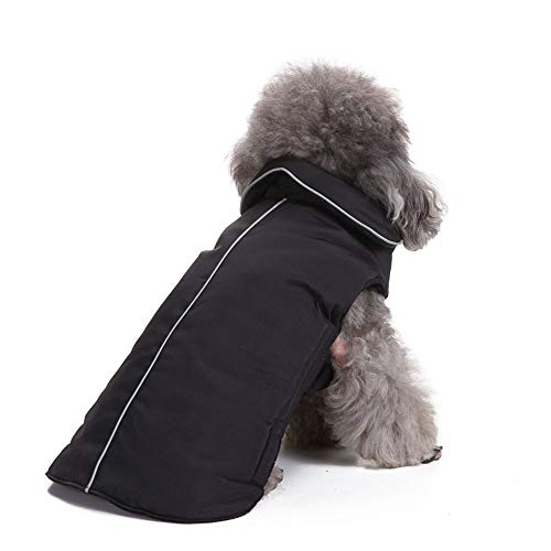 PapiPet Black Dogs Coat mit Klettverschluss für den Winter, Simple Pet Jumpers Waschbare warme Kleidung für große mittelgroße Haustiere,Black,M