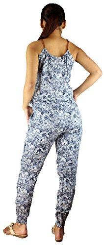 Jumpsuit Einteiler Overall Hosenanzug mit paisley Muster in schwarz Paisley Blau