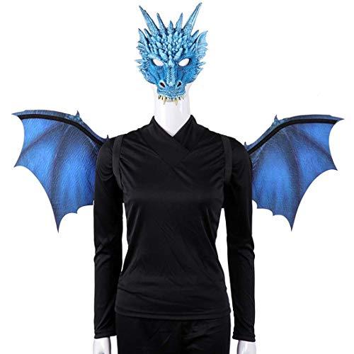 Yuyudou Kostüm Drachen Maske und Flügel, Erwachsene Kostüm Cosplay Party für Halloween Maskerade Party, Scary Devil - Blue Devils Kostüm