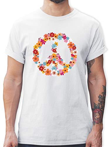 Frieden, Liebe T-shirts (Statement Shirts - Peace Flower Power - L - Weiß - L190 - Herren T-Shirt und Männer Tshirt)