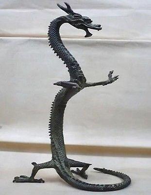 YUNHAO 100% echtem Bronze Exquisite Bronze Chinese Dragon Statue Figuren 43,2cm Höhe Garten Dekoration