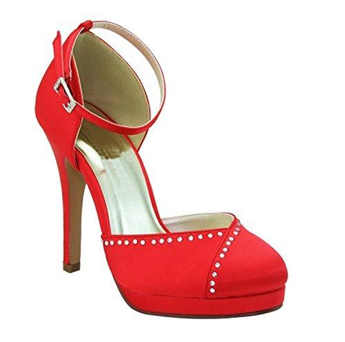 Sparkle Silver Sandals Flat (Kevin Fashion ,  Damen Modische Hochzeitsschuhe , Rot - rot - Größe: 37)