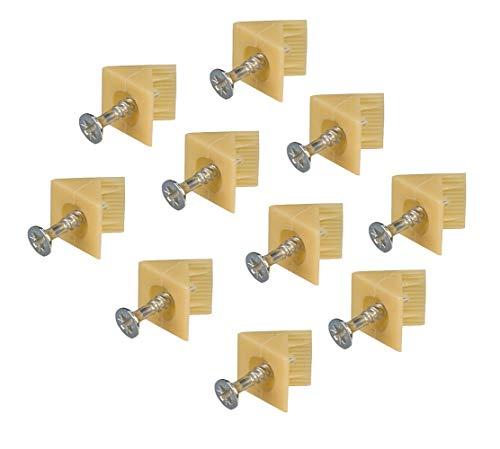 Gedotec Möbel-Klammer für Rückwand Möbelverbinder für Kleider-Schrank Schrank-Verbinder Befestigen | H3500 | mit Schraube | Kunststoff hellbeige | 10 Stück