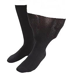 IOMI - 1 pares hombre diabeticos edema calcetines sin elasticos costuras para la circulacion (43-45 eur (9-11 UK), Black)