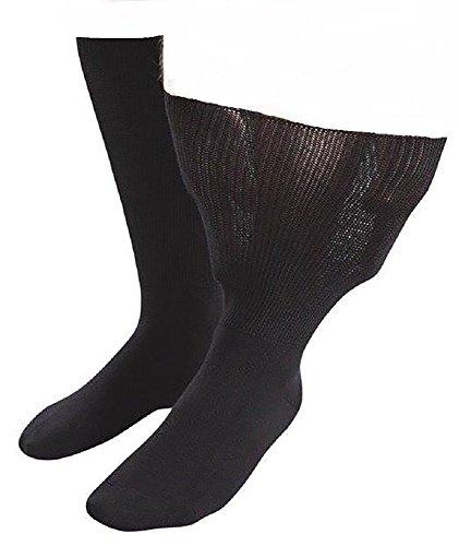 IOMI - 1 pares hombre diabeticos edema calcetines sin elasticos costuras para la circulacion (39-43 eur (6-8.5 UK), Black)