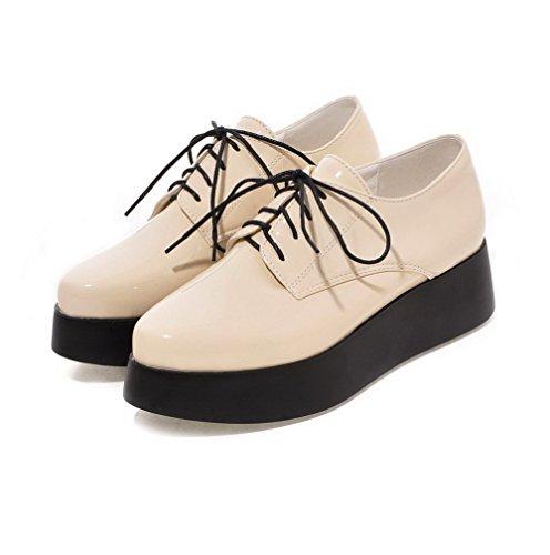 AllhqFashion Femme Pu Cuir Couleur Unie Lacet Pointu à Talon Correct Chaussures Légeres Beige
