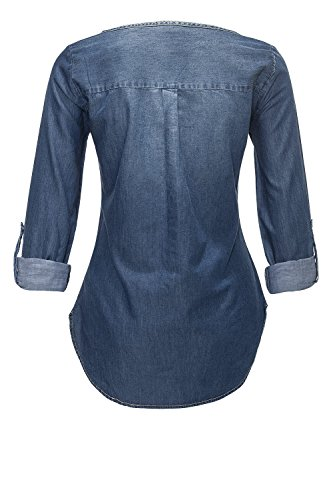 Jacqueline de Yong Only Damen Jeansbluse Langarmbluse Tunika Medium Blue Denim