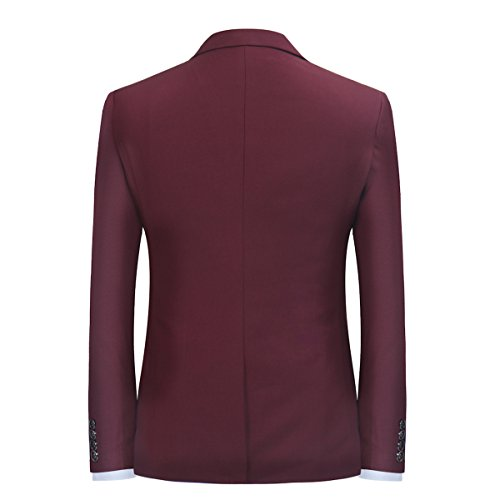 Herren 3-Teilig Slim Fit Anzug Smoking Anzugjacke Hose Weste von Allthemen Weinrot